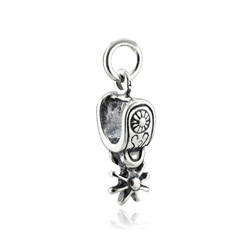 Pendant Charm Jewelry Boxes Silver (Western Spur Charm - 925 Sterling Silver - Horseback Riding Equestrian Boots - Jewelry Accessories Key Chain Bracelets Crafting Bracelet Necklace Pendants)