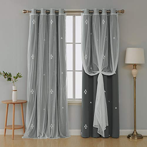 Deconovo Mix and Match Curtain Set 2 Piece Triangle Printed Thermal Insulated Blackout Drapes Grey and 2 Piece White Voile Sheer for Bedroom with Grommet Top 4 Curtain Panel 52W x 84L Inch