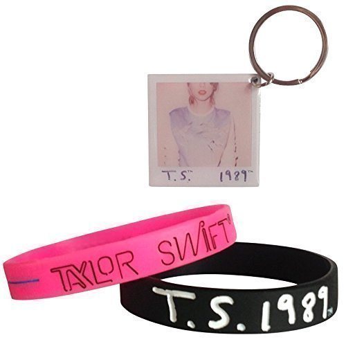 Taylor Swift 1989 World Tour Gift Pack, Black and Pink Bracelets and Album Photo Keychain by Taylor Swift (Image #1)