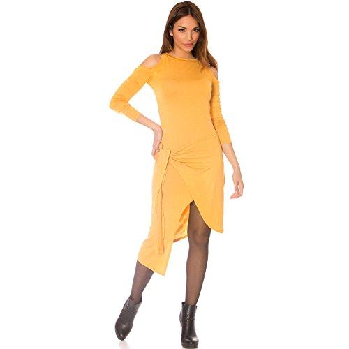 Miss Wear Line Damen One-Shoulder Kleid beige beige