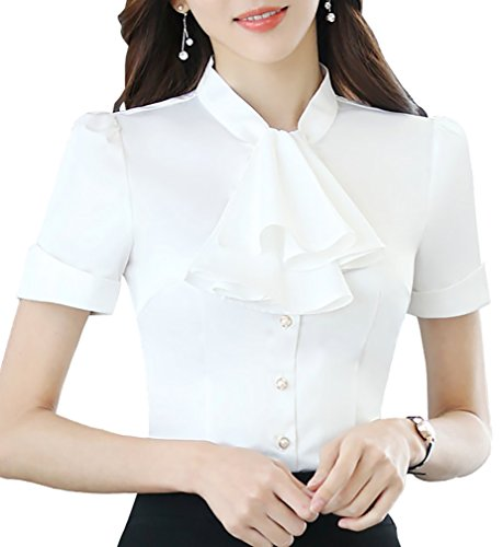 JHVYF Women's Chiffon Short Sleeve Shirt Blouse Bow-Tie Slim Fit Button Down Shirts White US 4(Tag XL)