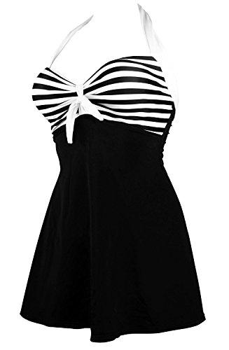 Pin Up Summer Sailor Di Strisce Bagno Mae Da Bianco Pezzo Donna Un Vintage Costume qvqR1