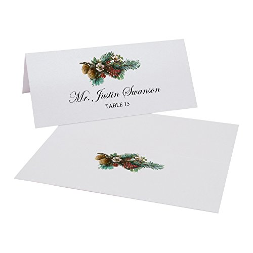 Pine Boughs Place Cards, Pearl White, Set of 375 by Documents and Designs