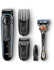 Braun BT3040 Beard Trimmer for Men, Cordless Hair Clipper, Black/Blue, with Gillette ProGlide Razor