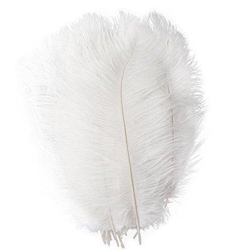 Piokio 20 pcs White Ostrich Feathers Plumes 12-14