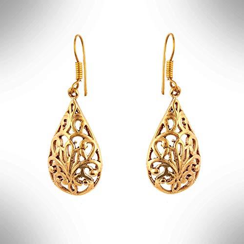 Gold Filigree Earrings,Unique Brass Earrings,22K Gold Earrings,Trendy Fashion Earrings,Swarovski Earrings,Everyday Earrings,White Diamond Earrings,CZ Diamond Earrings,Trendy Feather Earrings (TEJ941) ()