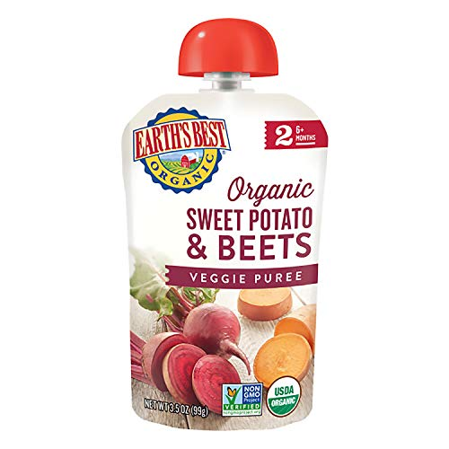 Earth's Best Organic Stage 2 Baby Food, Sweet Potato & Beets, 3.5 Oz Pouch (Pack of 12)