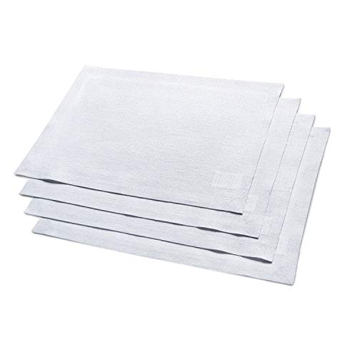 Solino Home Festive Linen Placemat - White Linen Placemat Woven with Decorative Zari - 14 x 19 Inch Set of 4 (Linens Silver Table Metallic Placemats)