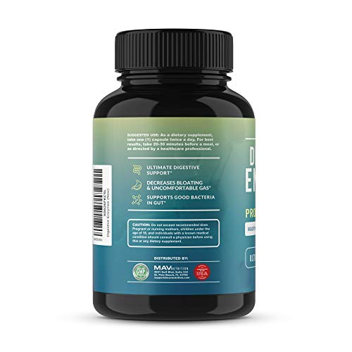 MAV Nutrition Digestive Enzymes & Probiotics, Digestion Aid with 3 Strains | Premium Enzyme Blend | Shelf Stable, 2 Month Supply, 60 Count