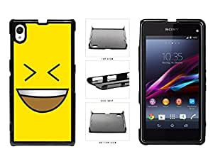 Bright Yellow Evil Grin with Teeth Smiley Face Plastic Phone Case Back Cover Xperia Z1
