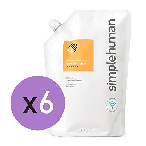 (simplehuman Moisturizing Liquid Hand Soap Refill Pouch, Mandarin Orange + Vitamin E (6 Pack))