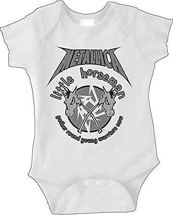 eb27934b349d Metallica Little Horseman White Newborn Infant Baby Rock and Roll Creeper  Romper