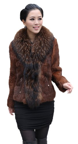 Queenshiny Women's 100% Real Rex Rabbit Fur Coat Jacket With Super Raccoon Collar-Coffee-XS(0-2)