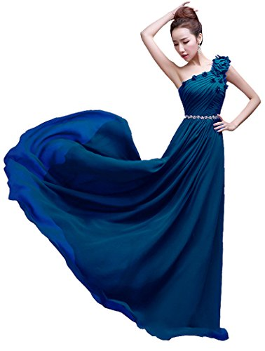 One Beauty Navy Shoulder Kleid bodenlang Emily lang Brautjungfer AUwqCfU