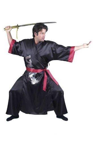 Charades Men's Samurai, Black/Red, (Kung Fu Master Child Costumes)