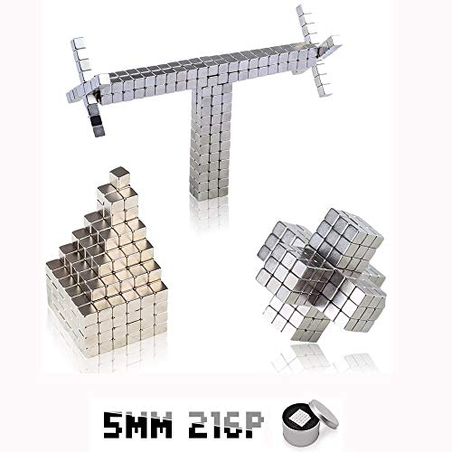 Magnetic Block Cubes, MOYANG Magnet Sculpture Cubes 5mm 216P DIY Building Puzzle Square Toys for Stress Relief Office Desk and Educational Intelligence Learning and Creativity Development