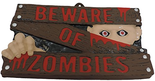 Plastic Beware Of Zombies Sign With Painted -