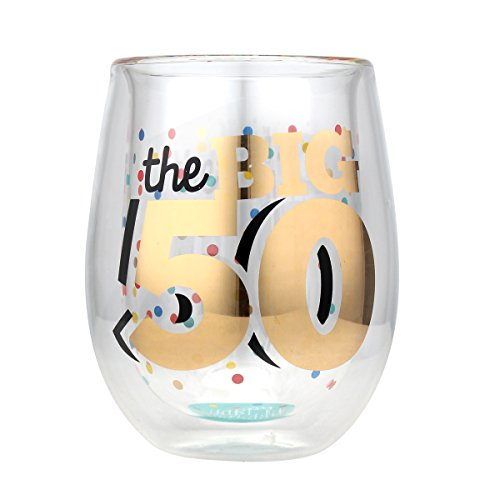 Top Shelf Double Wall Stemless 50th Birthday Wine Glass, Multicolor, Red or White Wine, Unique & Fun Gift Ideas for Him or Her, Memorable Gifts for Friends & Family