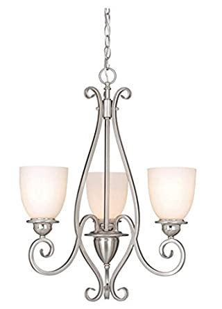 Vaxcel CH35903SN Mont Blanc 3 Light Chandelier, Satin Nickel Finish