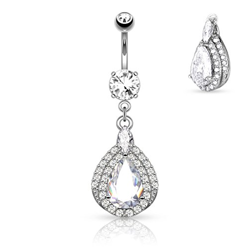 (14K White Gold Pave Set Three Tier Pear Shaped CZ Dangle Navel Ring Body)