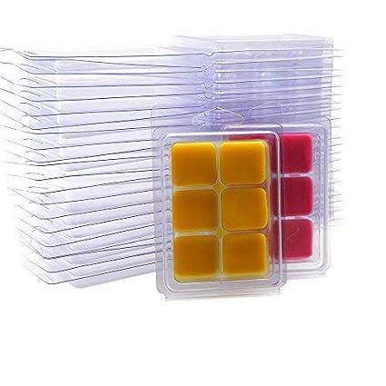 DGQ Wax Melt Molds 25 Packs Clear Empty Plastic Wax Melt Clamshells for Wickless Wax Melt Candles