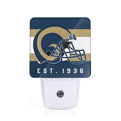 (Gdcover Los Angeles Rams Helmet Design Plug-in LED Night Light with Dusk-to-Dawn Sensor for Bedroom Hallway)
