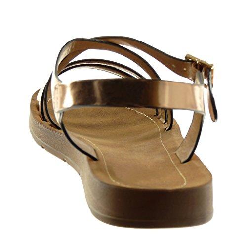 Angkorly Damen Schuhe Sandalen - Knöchelriemen - Multi-Zaum - Patent - Gekreuzte Riemen Flache Ferse 2 cm Champagner