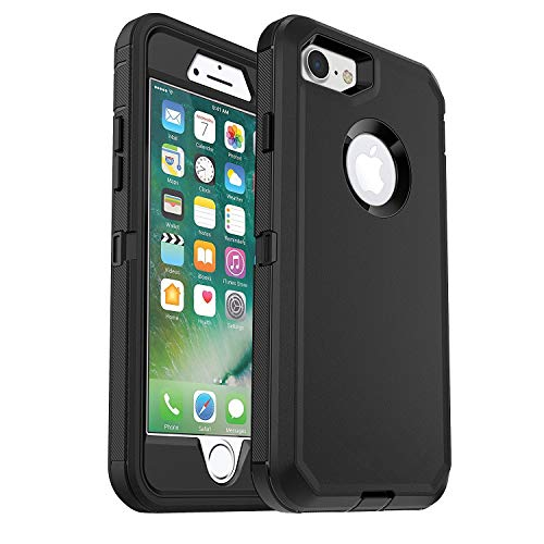 iPhone 7 Defender Case (Case Only) Heavy Duty Built-in Screen Protector Rugged Rubber Case Compatible Phone 7&iPhone 8 - Black - Bulk Packaging (Case Only)