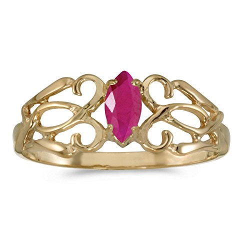 Jewels By Lux 10k Yellow Gold Marquise Ruby Filagree Ring Size 7