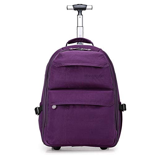 21 Inches Trolley Backpack Waterproof Wheeled Rolling Backpack for Men and Women Business Laptop Travel Backpack Bag,Purple ()