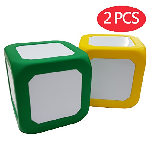 Macro Giant 5 Inch Foam Dry Erase Block, Set of 2, Yellow & Green, Magnetic, Teaching Learning Aid Tool, Kid Toy (440 Small Block)