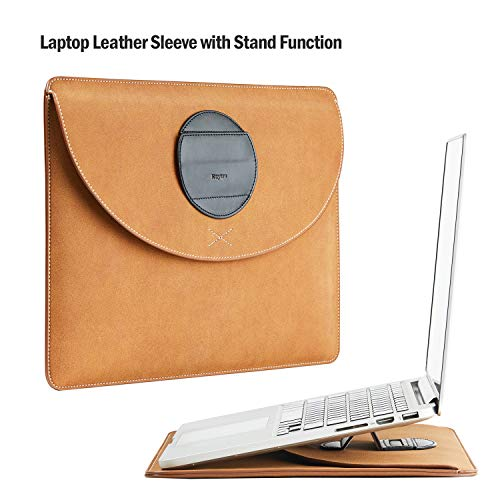 Keytas Ultra Slim 15 Inch Laptop Sleeve Waterproof Case Soft Leather Protective Bag with Stand Function, for 15