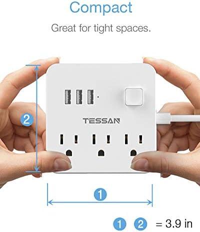 Power Strip 3 USB 3 Outlet, Desktop Charging Station 5 ft Flat Plug Extension Cord for Cruise Ship Accessories Dorm Room Plug Extender – White 41XfGq6eKFL