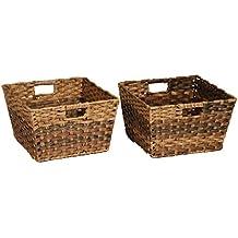 Seville Classics Handwoven Square Shelf Storage Basket 2-Piece Set, Mocha