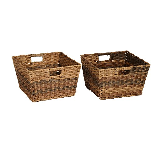 Seville Classics Handwoven Square Shelf Storage Basket 2-Piece Set, Mocha