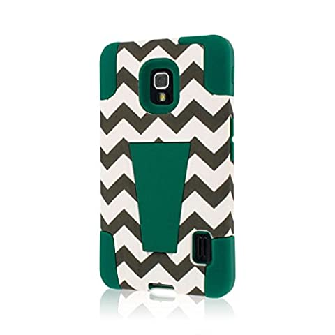 LG Optimus F6 Case (D500), MPERO IMPACT X Series Dual Layered Tough Durable Shock Absorbing Silicone Polycarbonate Hybrid Kickstand Case for Optimus F6 [Perfect Fit & Precise Port Cut Outs] - Teal (Lg F6 Silicone Case)