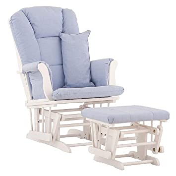 Stork Craft Custom Tuscany Glider And Ottoman   White/ Blue Fabric, Home  Furniture,