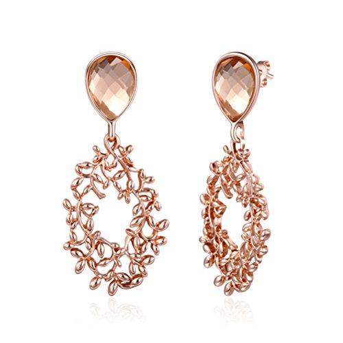 (Lucky Vine Circle Earrings Birthday Gift For Women Girl Rose Gold)