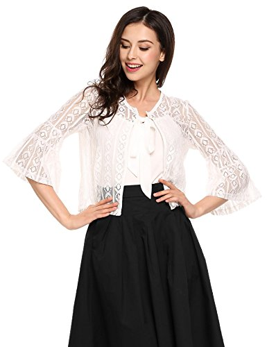 Zeagoo Women's 3 4 Sleeve Lace Crochet Cropped Bolero Shrug Sheer Open Cardigan