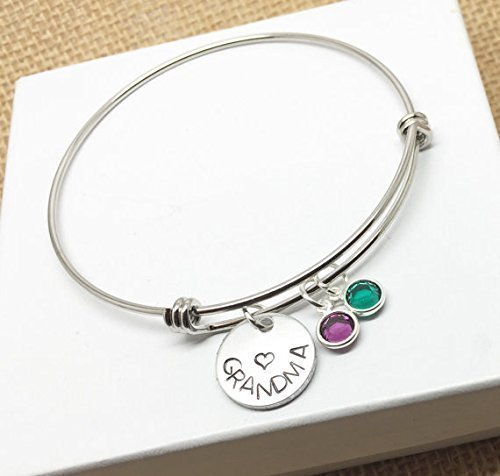 Grandma Bangle Charm Birthstones Bracelet product image