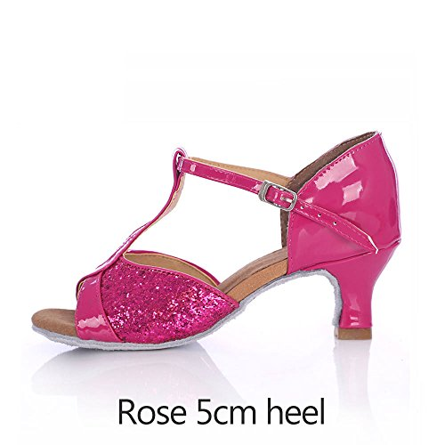 YFF souples Pure Chaussures Chaussures Salsa tango Latino femmes Bal semelles de danse Red latine Heel pour 5cm Hr4wqHxO