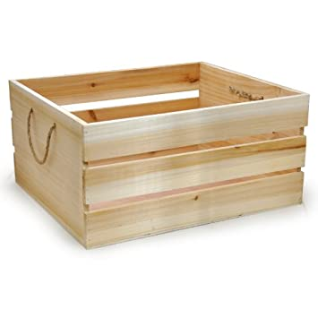 The Lucky Clover Trading Wood Crate Storage Box With Rope Handles