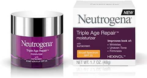 Neutrogena Triple Age Repair Vitamin C Face Moisturizer with SPF 25 Sunscreen, Anti Wrinkle Face Cream, Neck Cream, Firming Lotion & Dark Spot Corrector for Face with Glycerin & Shea Butter, 1.7 oz
