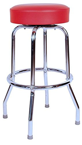(Richardson Seating 0-1950RED Backless Swivel Bar Stool with Chrome Frame and Seat, Red, 30
