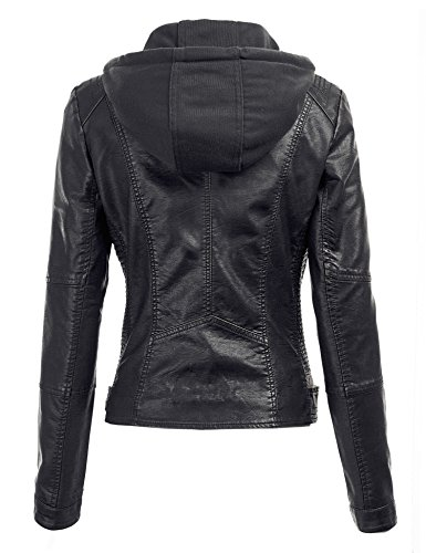 Mbj Wjc1044 Womens Faux Leather Quilted Motorcycle Jacket With Import It All