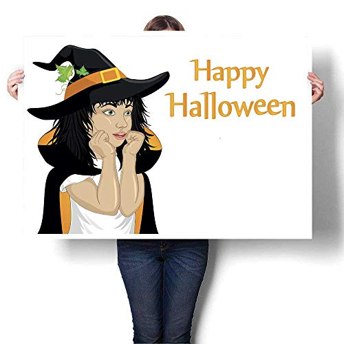 Home Decor Halloween Girl in hat and witch costume is surprised wow Vector Thinking bubble with pumpkin inside Greeting card or invitation for hol Decorative Fine Art canvas Print Poster K 32