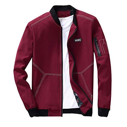 Slim Casual Full Bomber Red Flight Jackets Coats Fit Winter LINGMIN Zip Lightweight Men's X1nq8