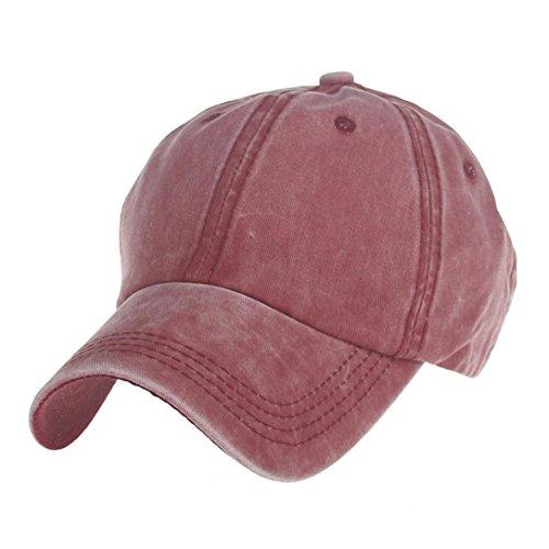 Aniywn Fashion Adults Couple Baseball Cap Unisex Snapback Hip Hop Hat Cap (Free Size, Red)