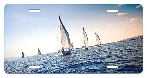zaeshe3536658 NauticaLicense Plate, Racing Sailboats in Mediterranean Sea Adventure Winner Sports Freedom Photo Print, High Gloss Aluminum Novelty Plate, 6 X 12 Inches, Blue White by zaeshe3536658