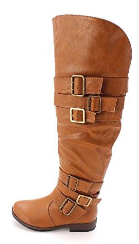 JustFab Just Fab Womens Freda Closed Toe Mid-Calf Riding Boots Chestnut FozW8BDH